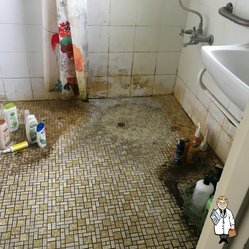 Before Bathroom Mould Removal By Mould Doctor